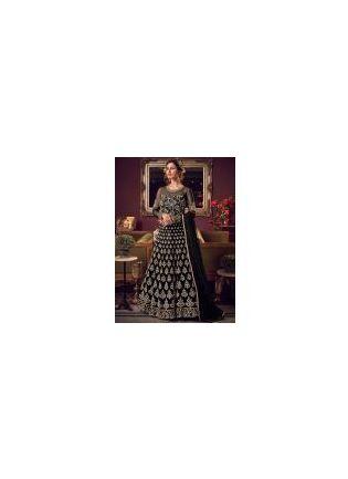 Impressive Black Soft Net Base Stone And Dori Work Salwar Suit