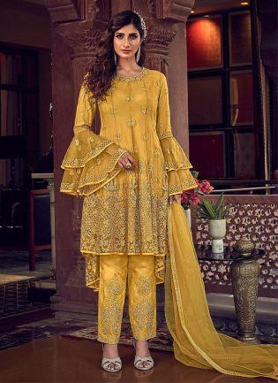 Yellow Color Pant Style Pakistani Salwar Kameez
