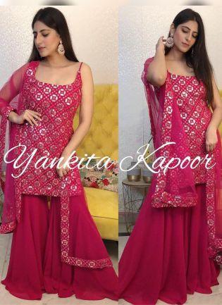 Elegant Pink color georgette base palazzo Suit