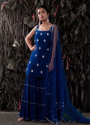Decent Style Lepis Blue Color Sharara Suit