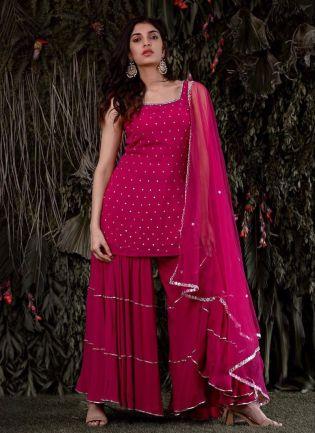 Gorgeous Pink Royal Georgette Sharara Salwar Suit