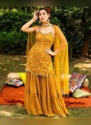 Glamorous Mustard Yellow Color Georgette Base Sharara Suit