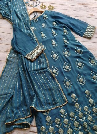 Turquoises Color Georgette Base Heavy Work Pant Style Salwar Suit