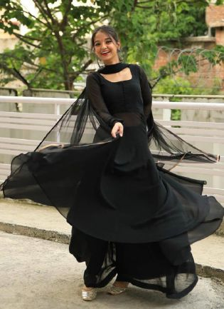 Trendy Look Black Color Georgette Base Long Top With Sharara Suit