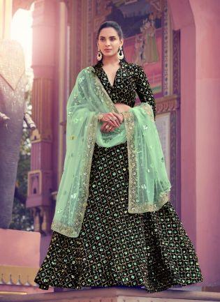 Gorgeous Look Black Color Lehenga Choli With Green Color Dupatta
