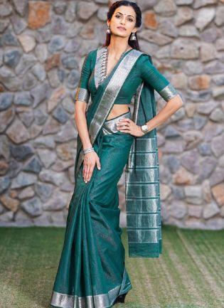 Impressive Teal Green Color Silk Base Banarasi Saree