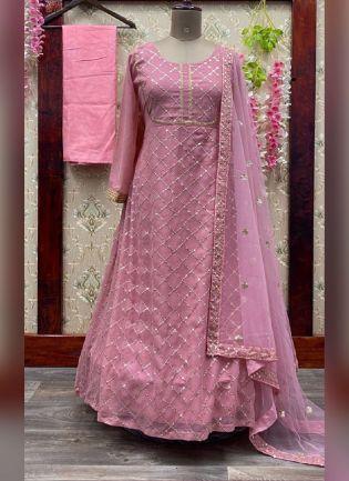 Pink Color Georgette Base Sequins Work Salwar Suit