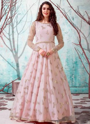 Baby Pink Black Color Net Base Party Wear Designer Gown
