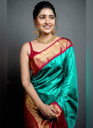 Traditional Look Turquoise Color Art Silk Base Wedding Wear Saree With Contrast Blouse