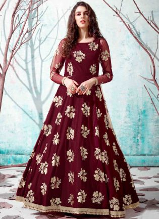 Maroon Black Color Net Base Party Wear Designer Gown