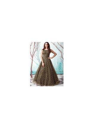 Olive Green Color Net Base Party Wear Designer Gown