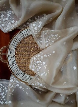 Decent Look Beige Color Organza Base Saree With Blouse