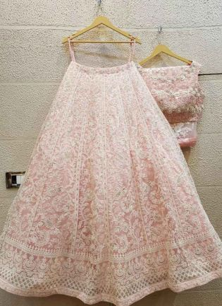 Blush Pink Color Georgette Base Lakhnavi Work Lehenga Choli