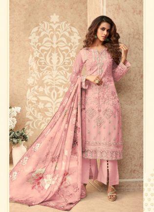 Trendy Pink Soft Net Straight Salwar Suit