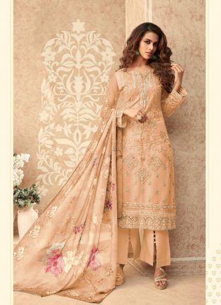 Light Peach Soft Net Straight Salwar Suit