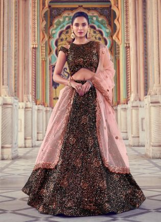 Magnificent Black Color Lehenga Choli With Matching Blouse