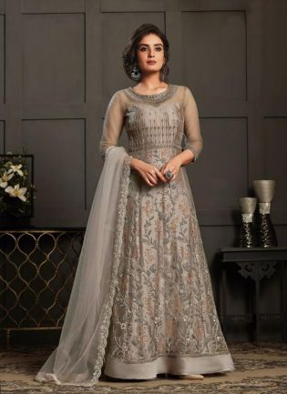 Beige Color Soft Net Designer Gown With Dupatta Set