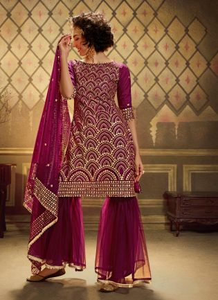 Wine Soft Net And Sequins Sharara Salwar Suit