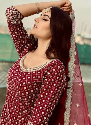 Gorgeous Look Maroon Color Georgette Base Heavy Work Palazzo Suit