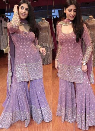 Lilac Purple Color Georgette Base And Sequins With Embroidery Work Sharara Suit