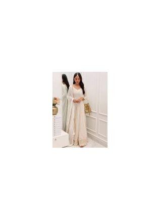 Tremendous White Color Georgette Base Heavy Work Designer Gown