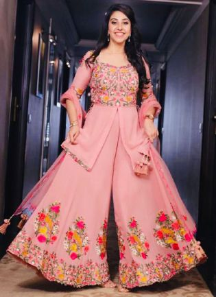 Impressive Blush Pink Georgette Base Embroidered Sharara Suit