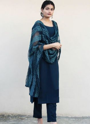 Elegant Turquoise Color Satin Base Pant Style Suit