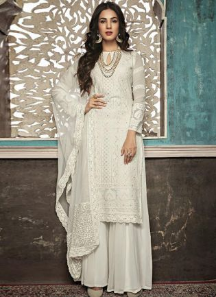 White Straight Fit Party Wear Ethnic Pallazo Salwar Suit