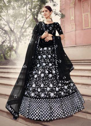 Divine Look Black Color Soft Net Lehenga Choli With Matching Blouse