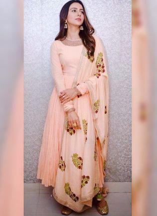 Peach Resham And Georgette Reception Anarkali Churidar Suit
