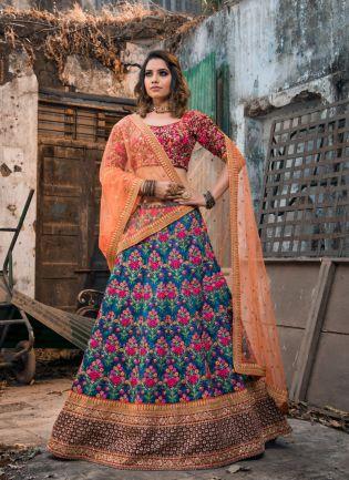 Stylish Royal Blue Color Designer Heavy Embroidered Lehenga Choli