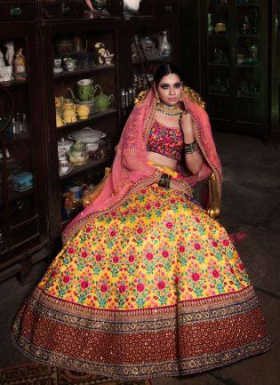 Stylish Yellow Color Designer Heavy Embroidered Lehenga Choli