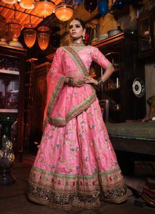 Pink Color Designer Heavy Embroidary Work Lehenga Choli