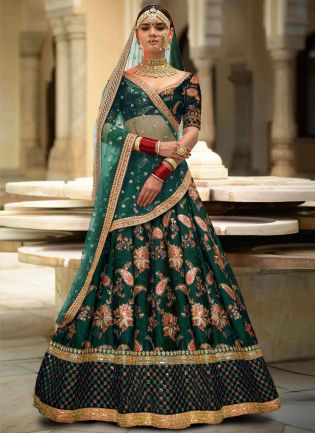 Green Colour Designer Heavy Embroidered Lehenga Choli