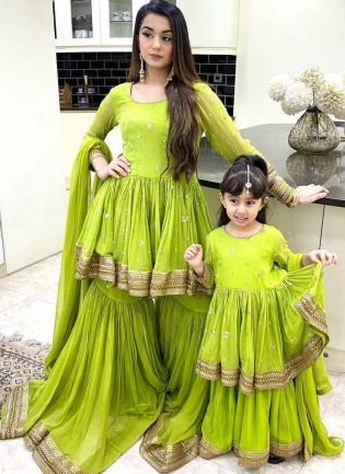 Trendy Neon Green Color Georgette Base Party Wear Flared Sharara Suit