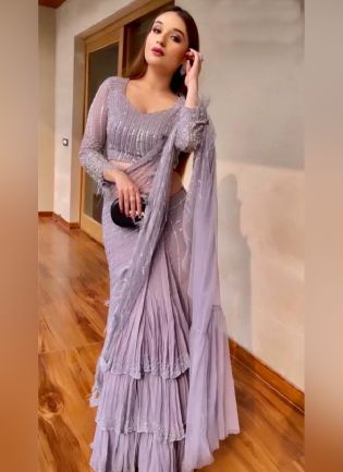 Designer Purple Color Georgette Base With Sequins And Embroidery Work Party Wear Saree