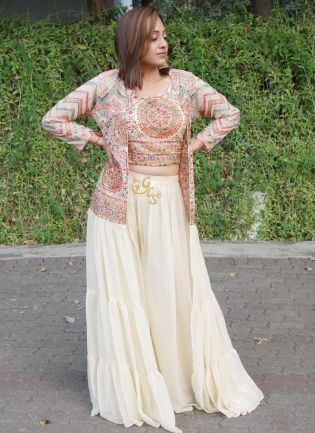 White color Georgette Base With Sequins Work Jacket Style Sharara Suit