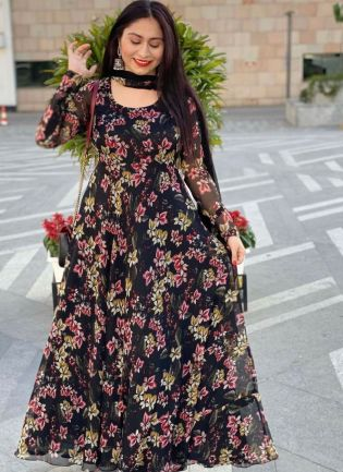 Beautiful Look Georgette Base Flower Print Flared Gown With Dupatta