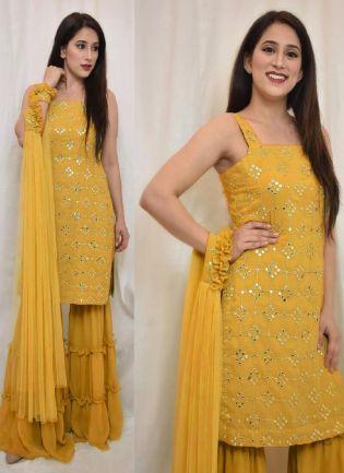 Stunning Mustard Yellow Color Georgette Base Sharara Salwar Suit