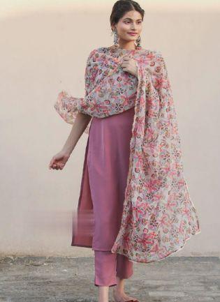 Trendy Onion Pink Color Silk Base Pant Style Suit