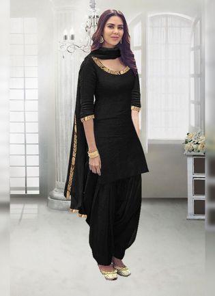 Black Zari Work And Rayon Straight Fit Salwar Suit