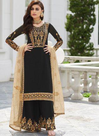 Black Zari Stone And Georgette Party Wear Pakistani Palazzo Suit