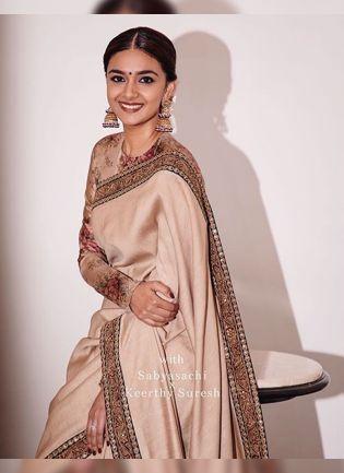 Beige Digital Print Silk Embroidered Bollywood Saree