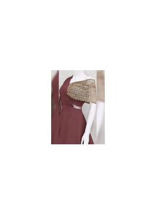 Maroon with Golden Zari Work Georgette Sangeet Designer Gown
