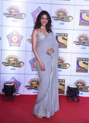 Grey Sequin Georgette Party Wear Embroidered Saree