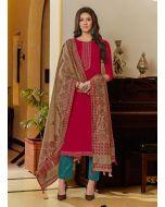 Resham Work Cotton Fabric Red Color Pant Style Salwar Kameez