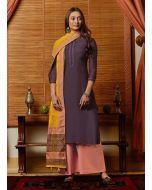 Cotton Fabric Wine Color Resham Work Palazzo Salwar Suit With Dupatta