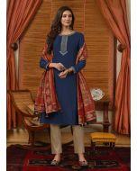 Dark Blue Color Cotton Fabric Resham Work Pant Style Salwar Suit