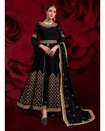 Black Color Georgette Fabric Stone And Zari Work Anarkali Salwar Suit With Dupatta