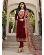 Maroon Color Georgette Fabric Stone And Zari Work Pant Style Suit